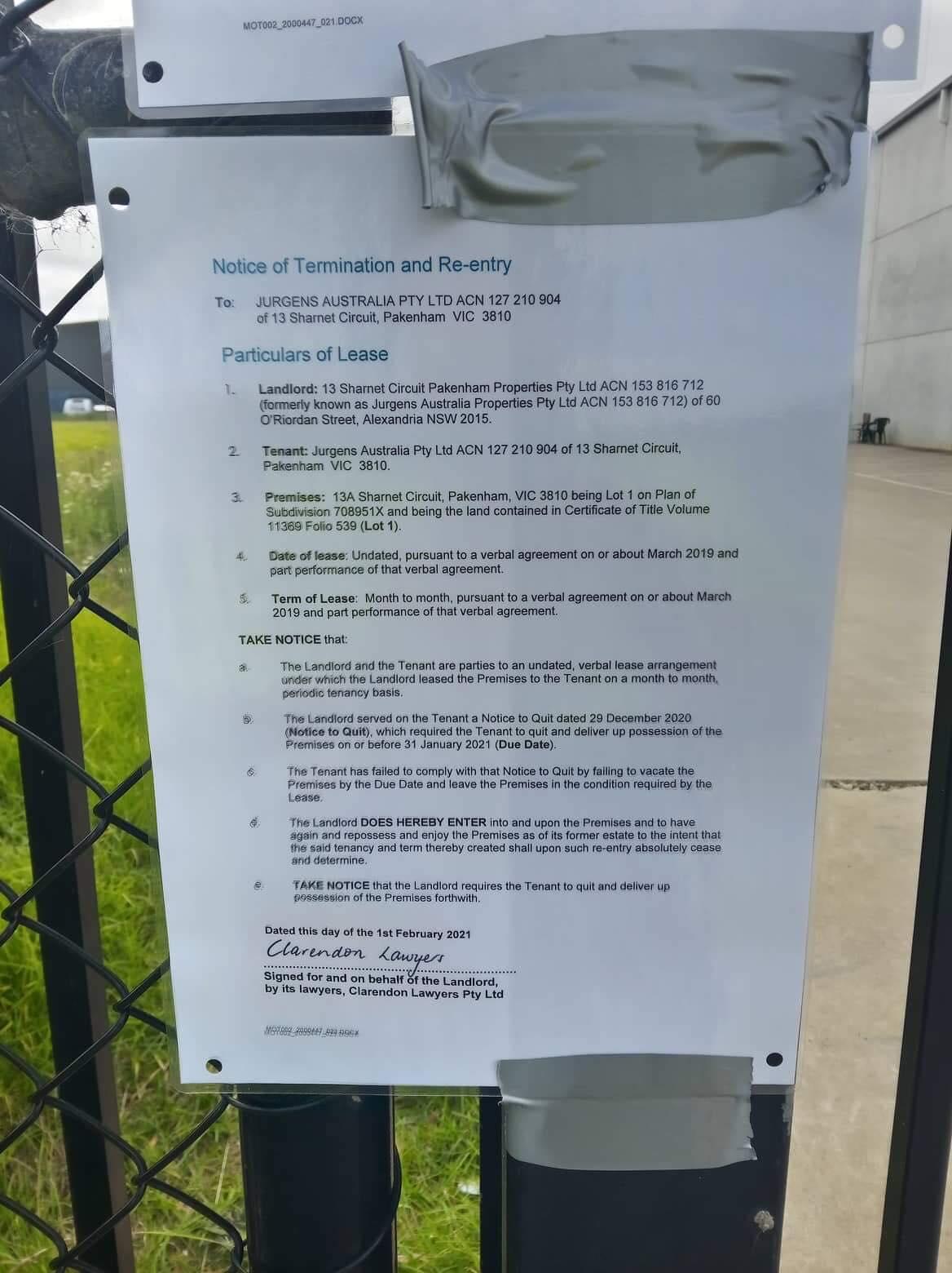 Jurgens eviction notice number 2