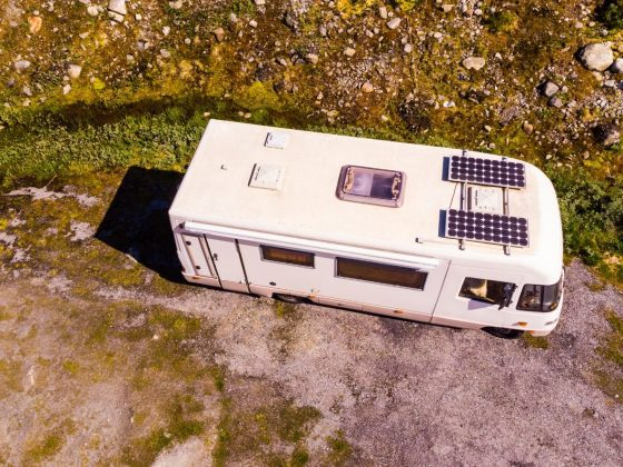 Camper with solar panels