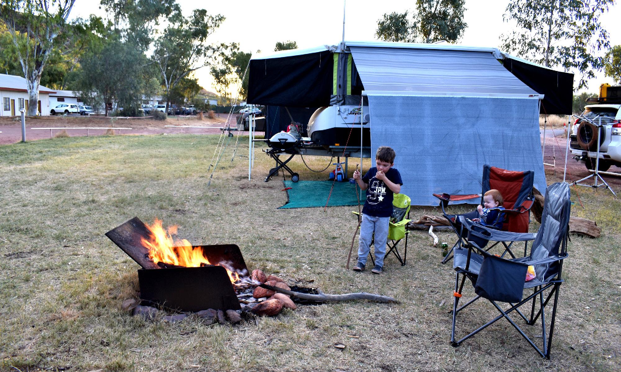 camp fire near campsite