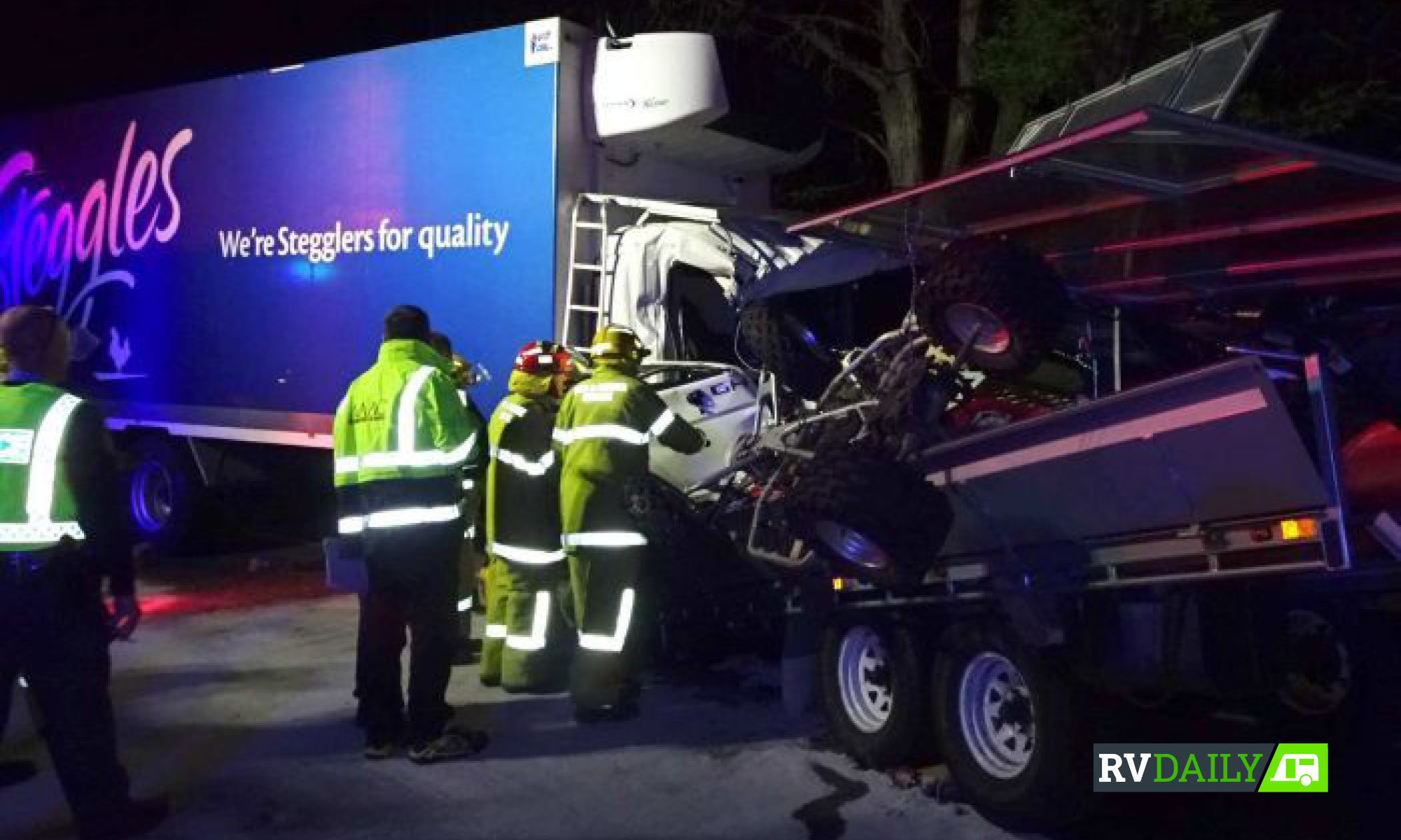 a crash scene of an illegal trailer