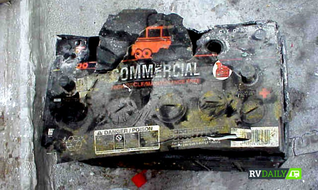 a melted vehicle battery