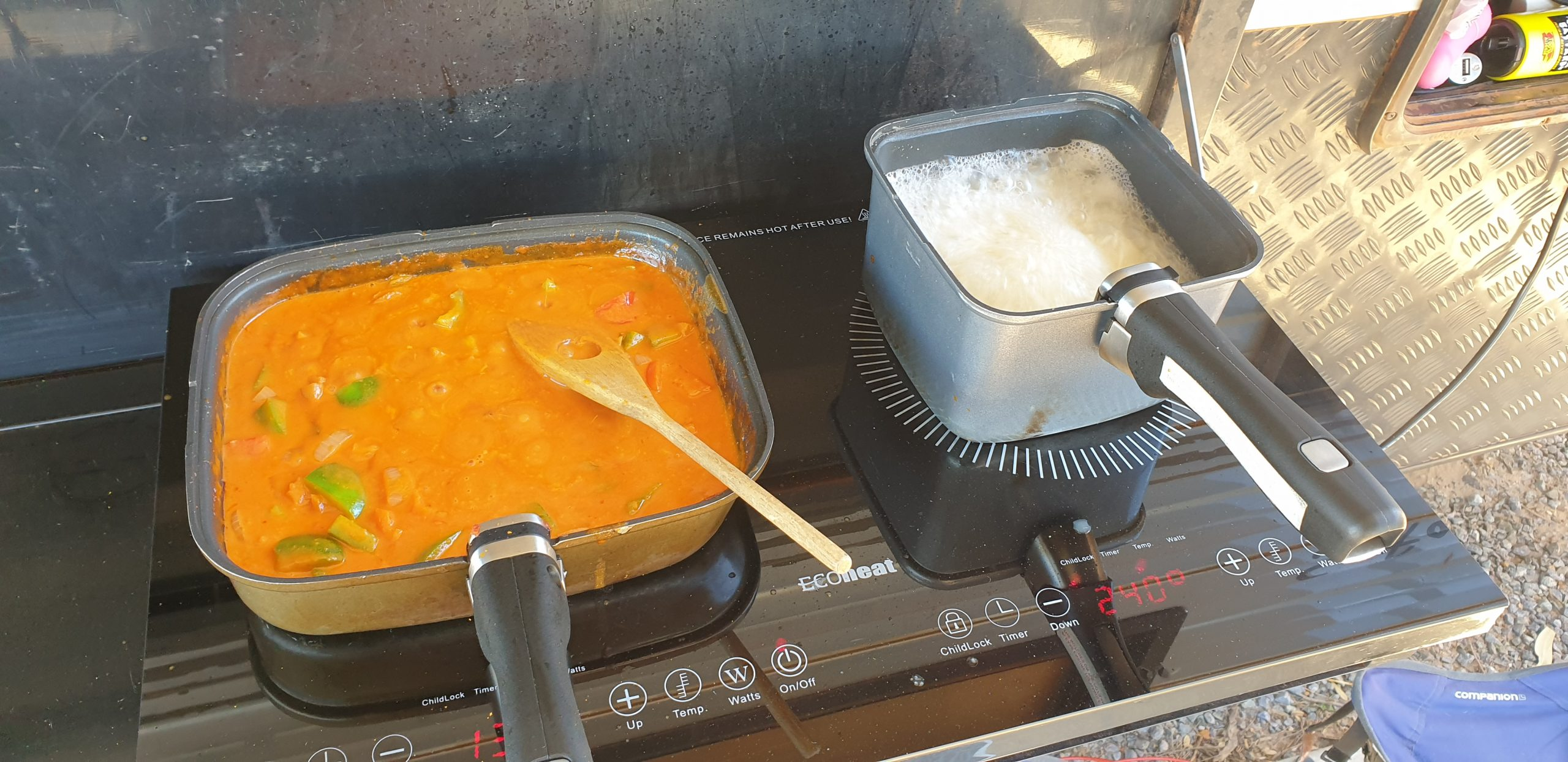 fish curry - cooking