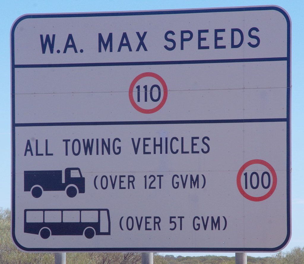 speed limits - WA towing speed limit sign