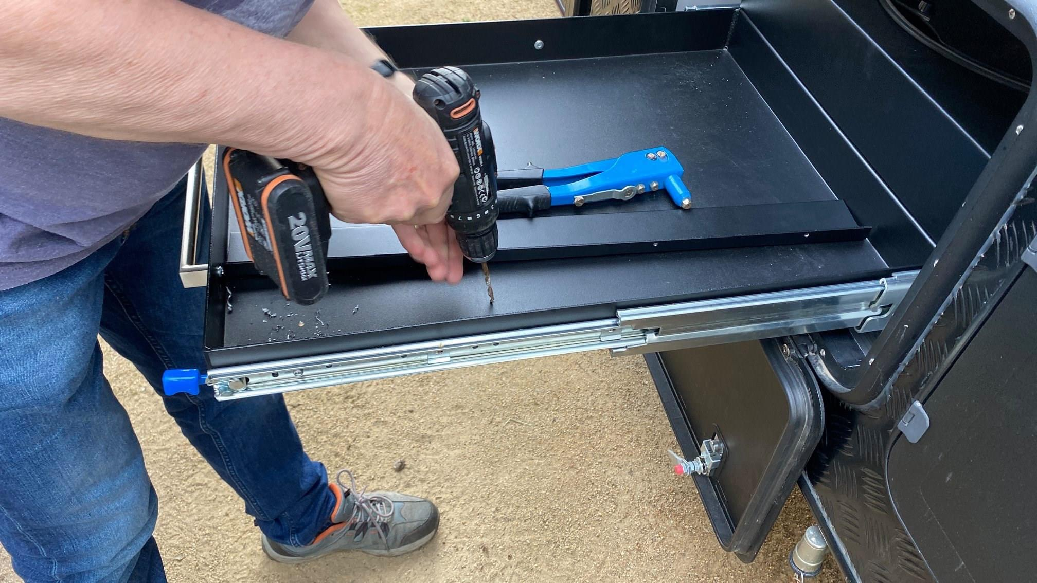 8. Drilling And Riveting The Provided Divider In Place