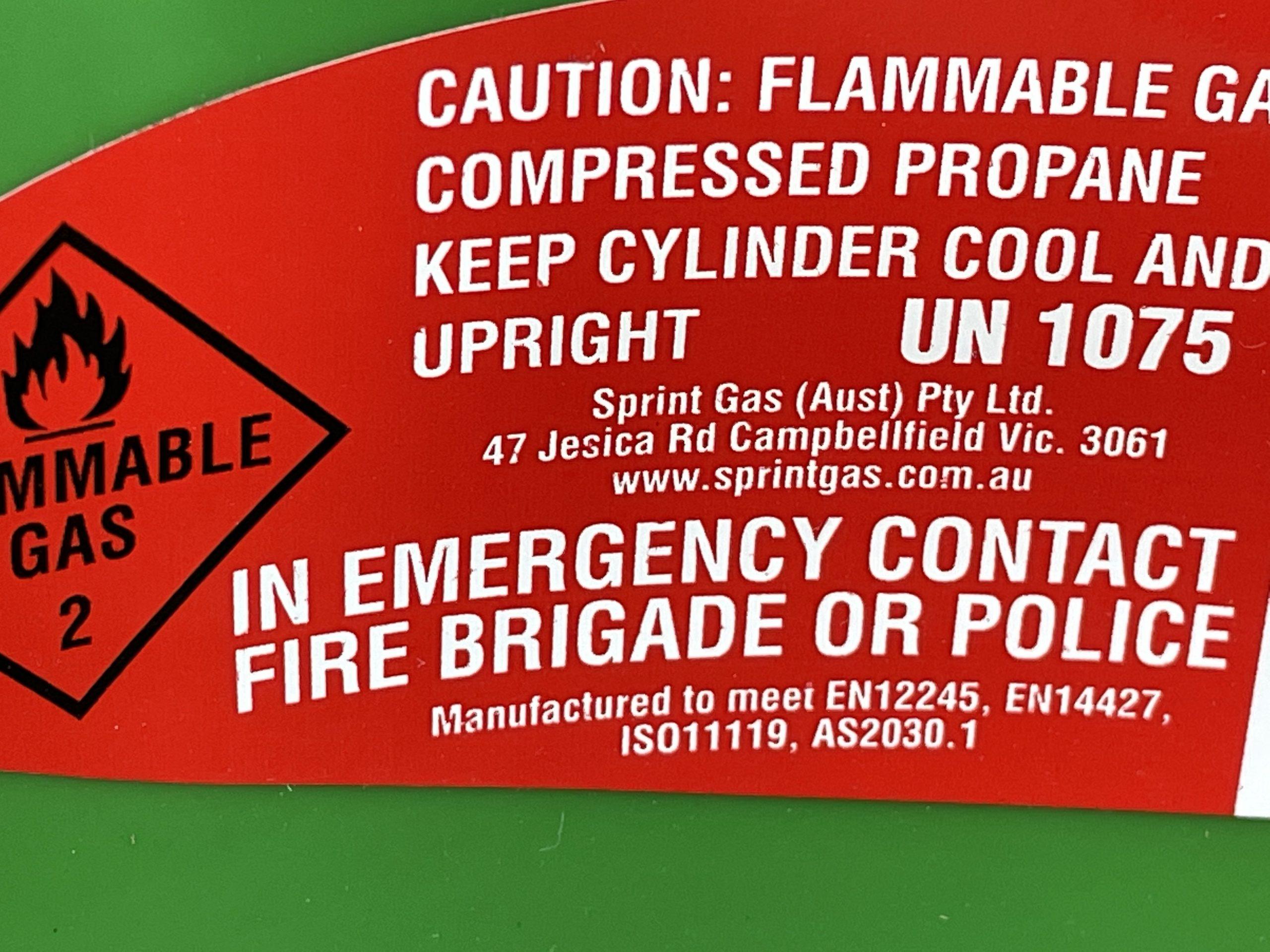 Regasco Composite LPG Gas Cylinder - safety info