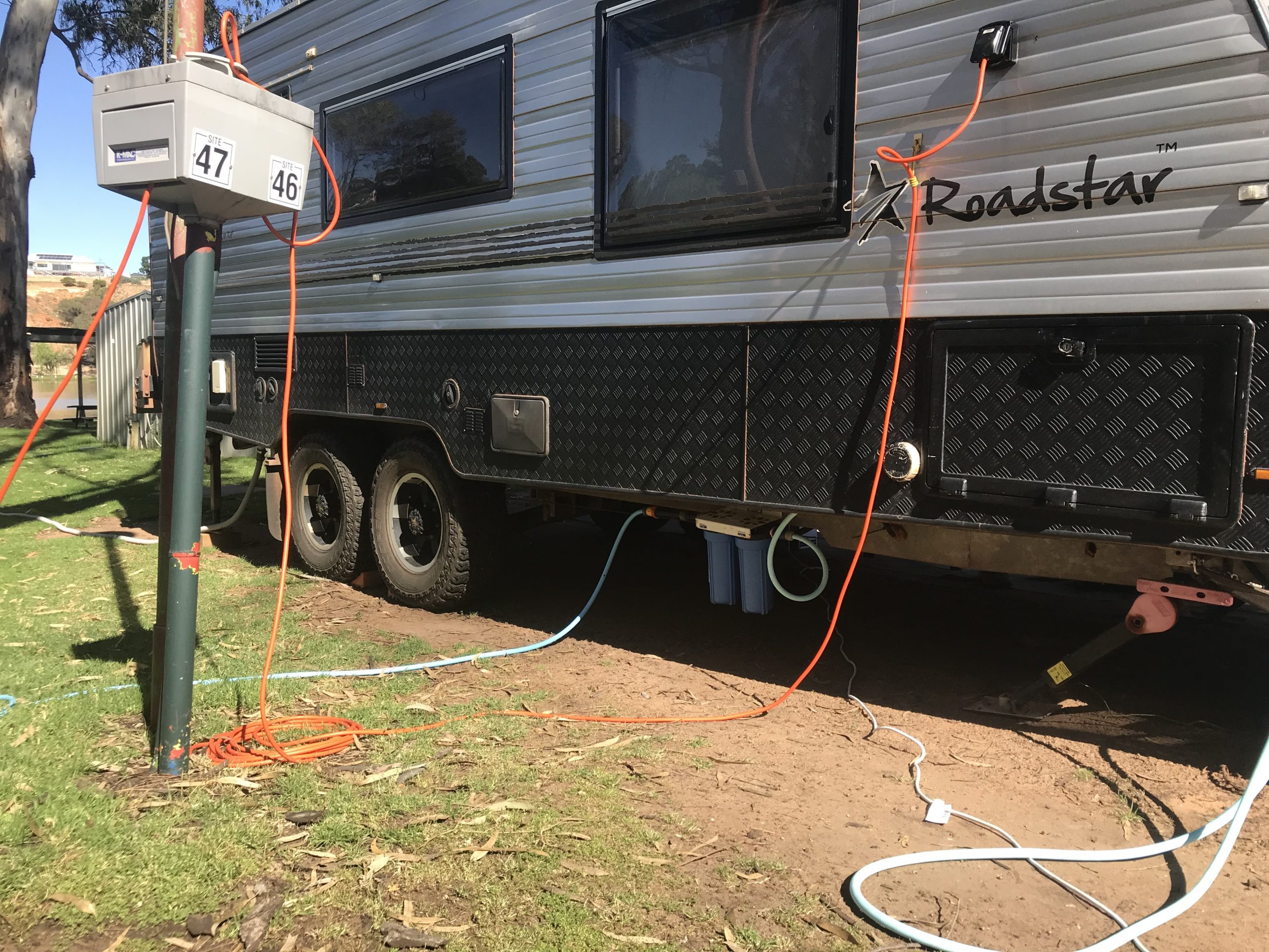 Utilities connections to caravan