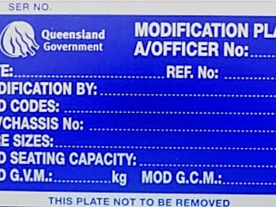 Queensland Modification plate