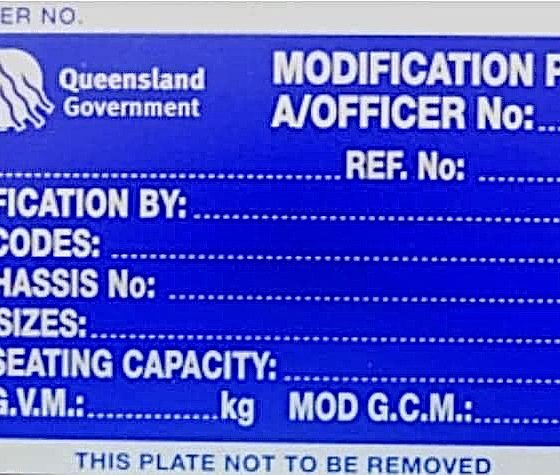 Queensland Modification plate