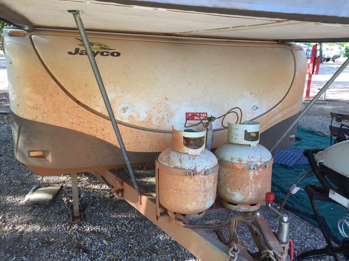 Dust on camper trailer