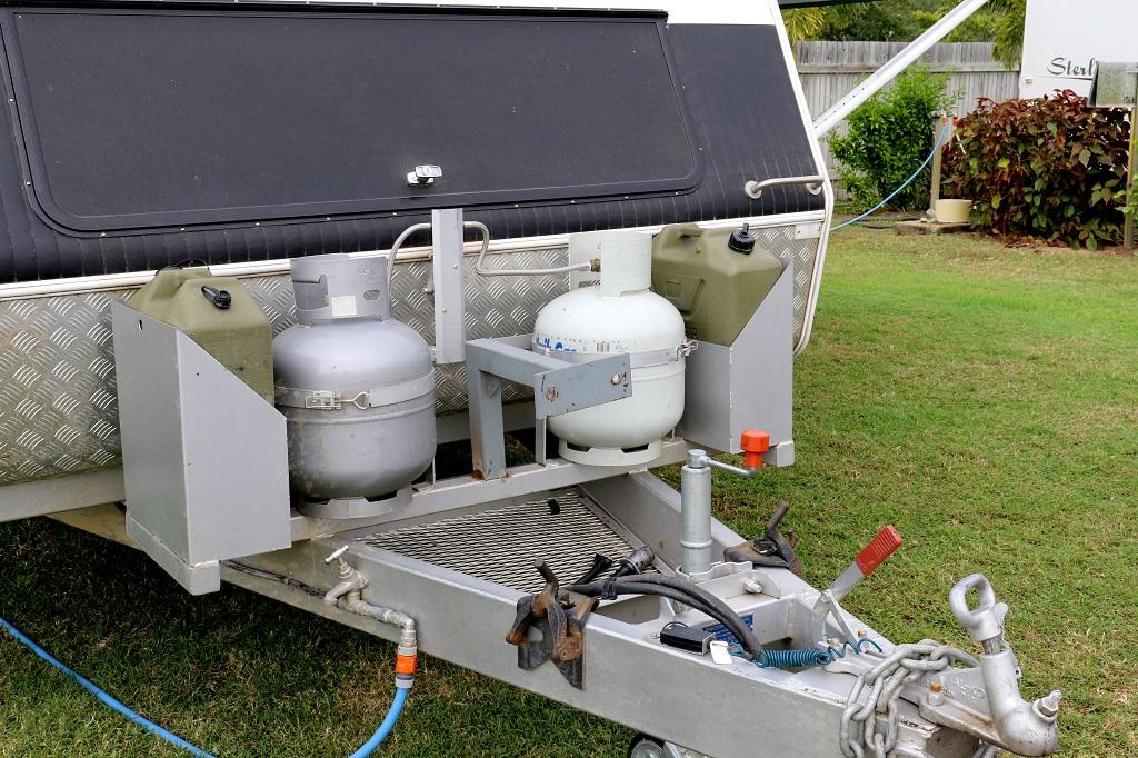 LPG cylinders on a caravan