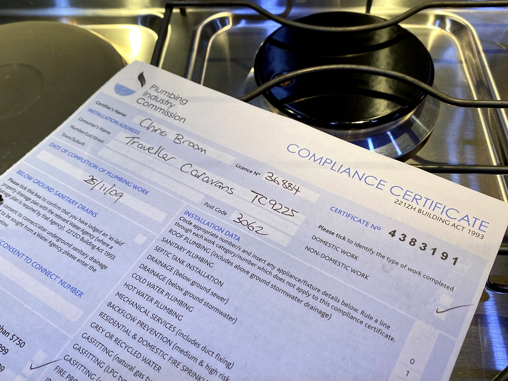 RV Certificate of gas compliance