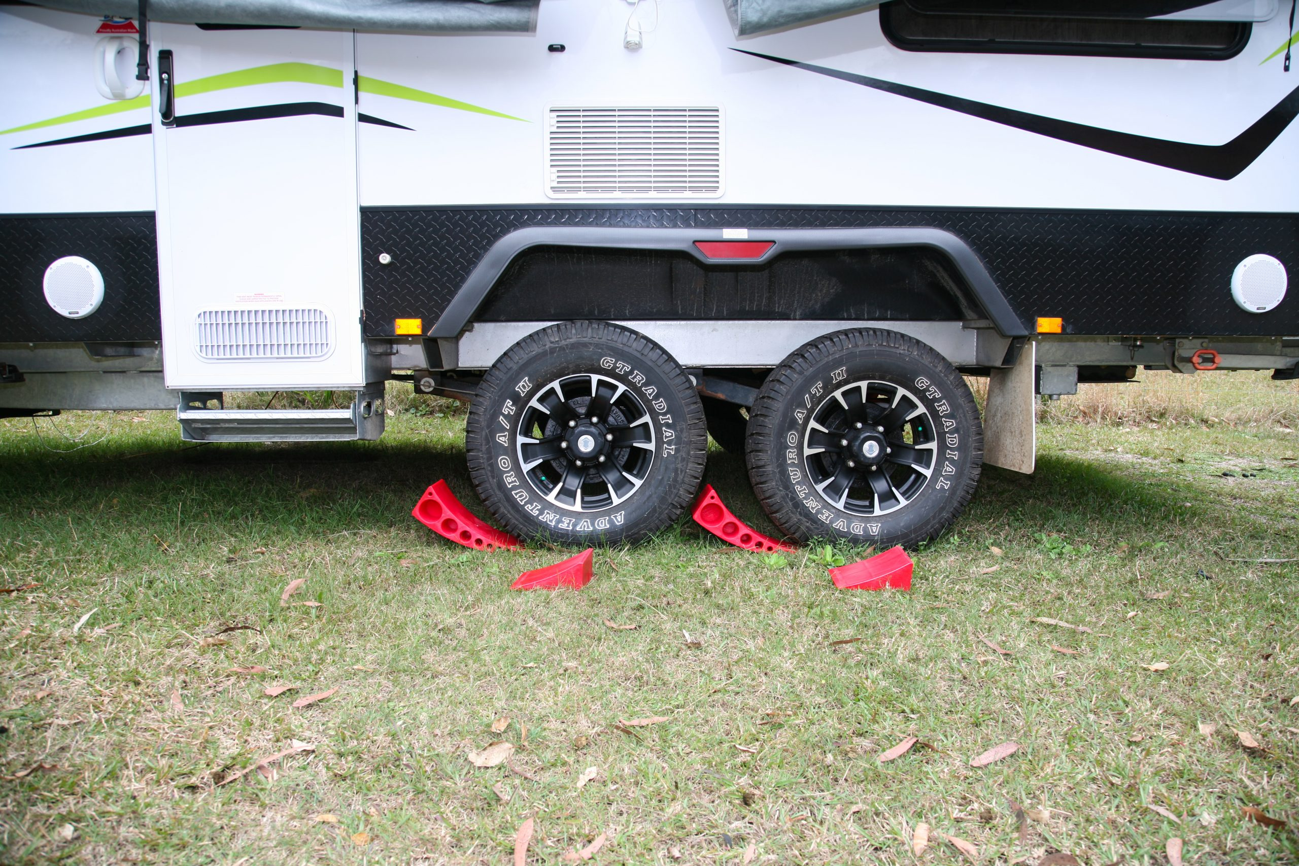 Caravan Accessories for 2020 wheel chocks and levelling ramps