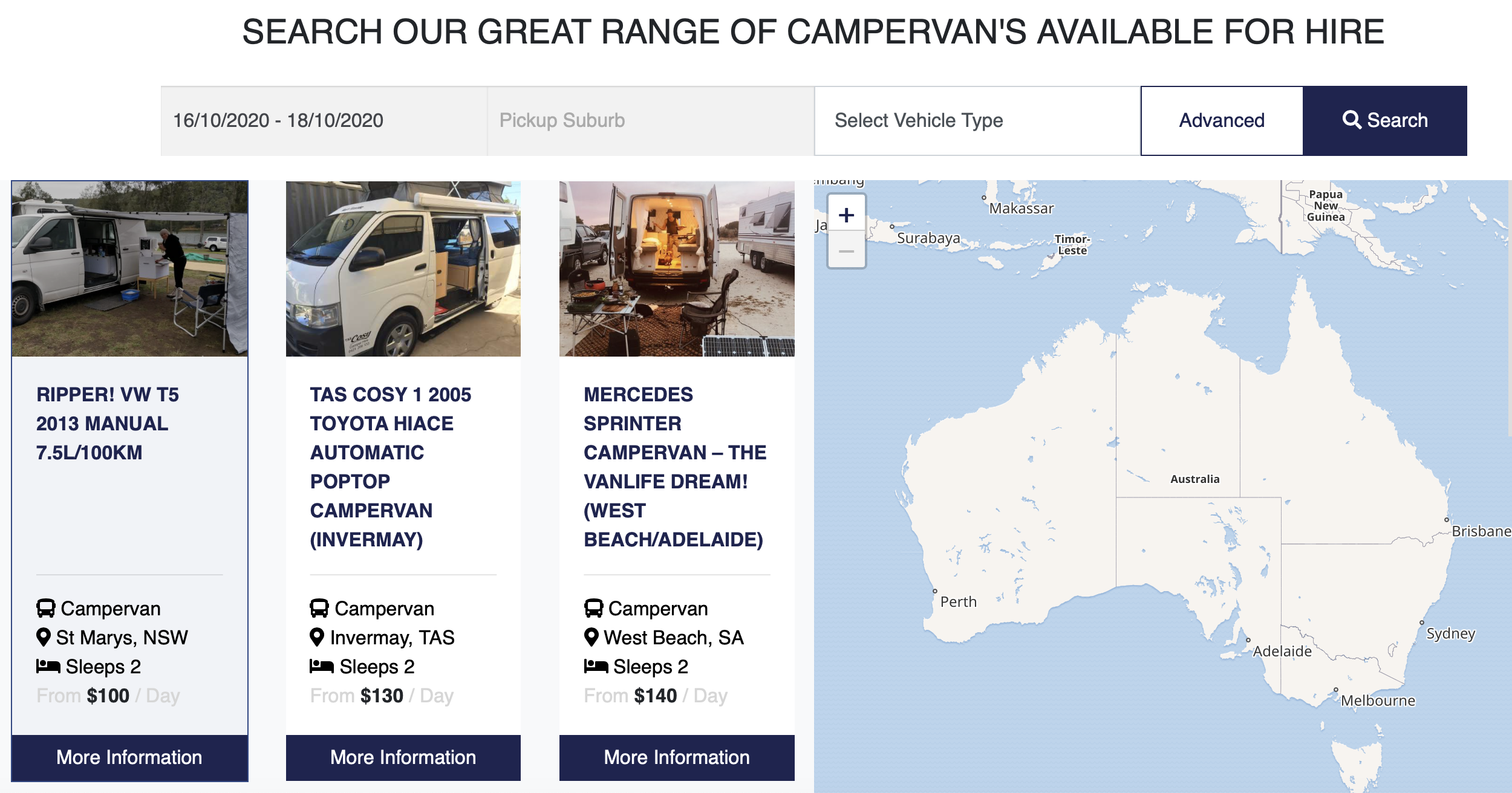caravan hire web site