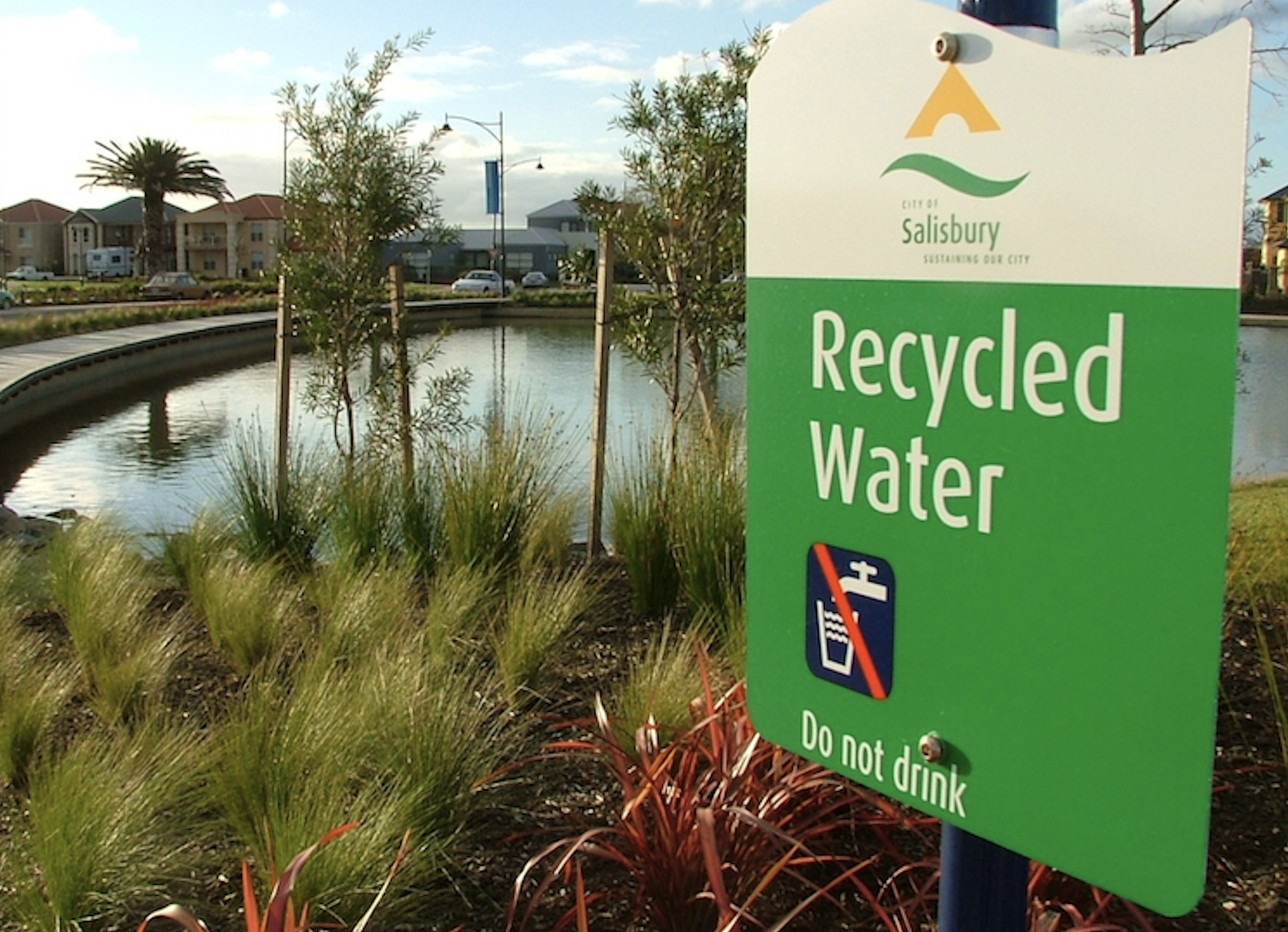 stealing water - recycled water sign