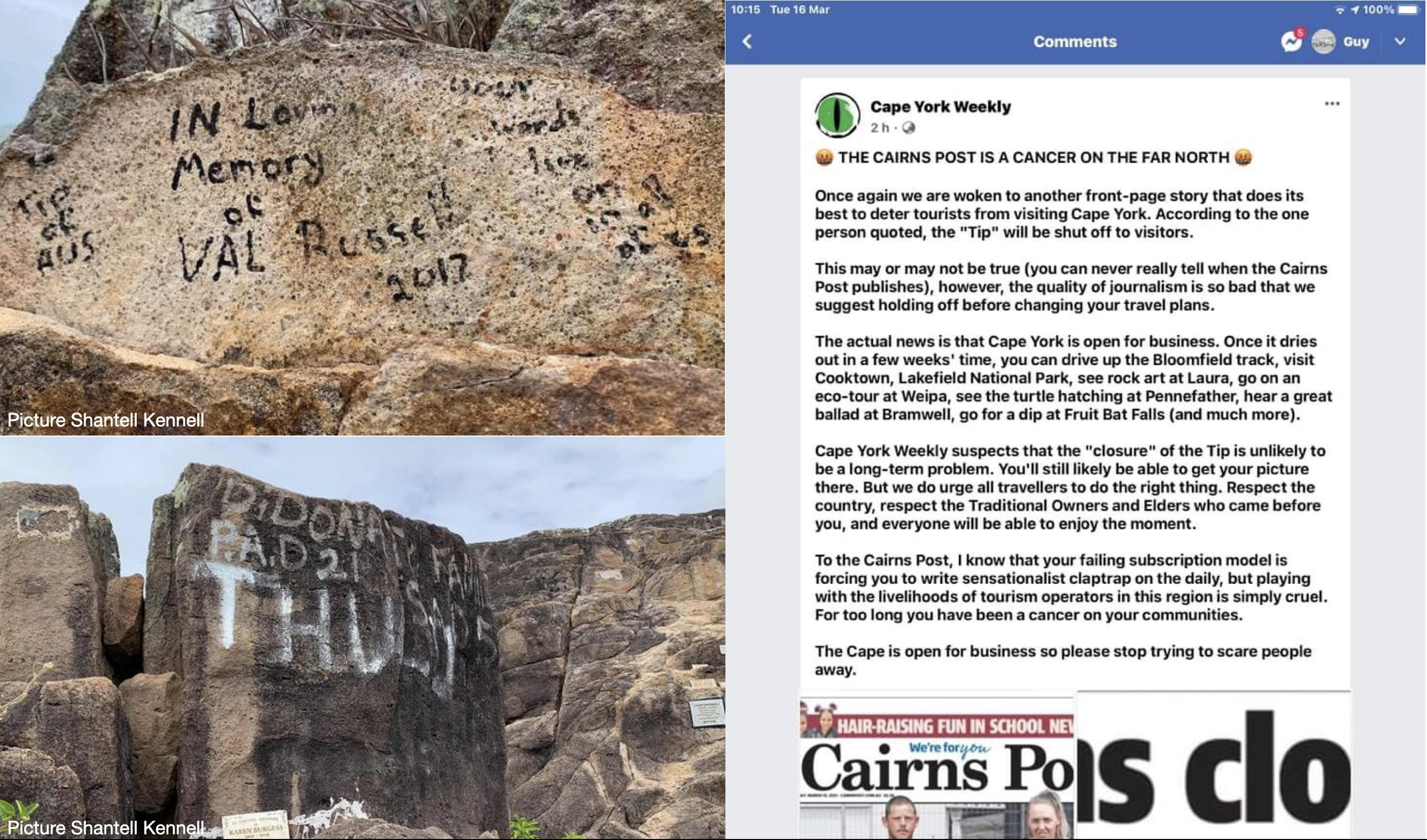 Cape York closed - graffiti and news item