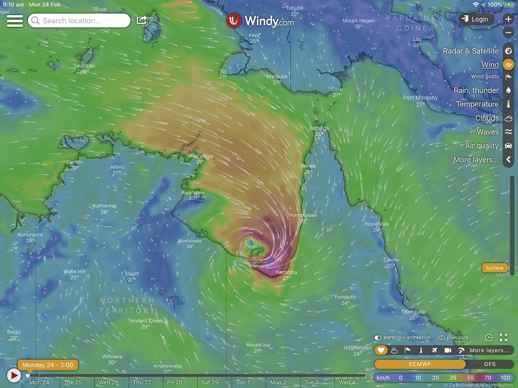 Tropical Cyclone Esther About To Cross The Coast Near Karumba With Wind Around 80kph