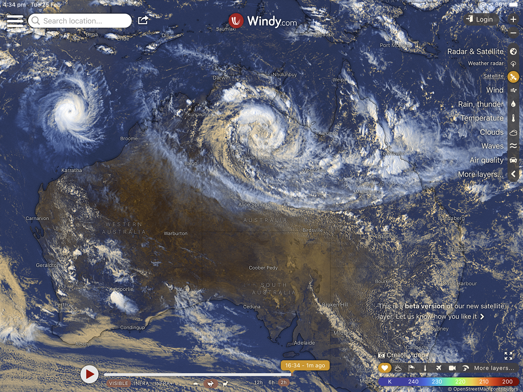 Windy S Satellite Images Are Detailed. Ex Tropical Cyclone Esther Passing Over The Nt
