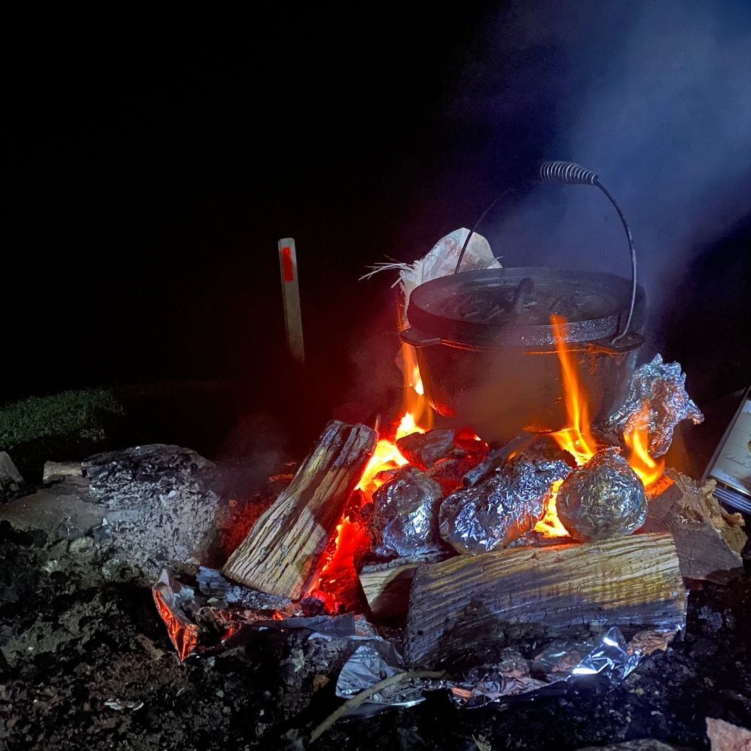 Camp oven on a fire